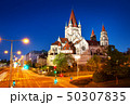 Saint Francis of Assisi Church on Danube in Vienna, Austria at night 50307835