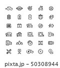 Electric cars line vector icons. Hybrid battery vehicles and green transport symbols 50308944