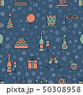 Colorful vintage party icons seamless texture with star seamless background. Cartoon style vector 50308958