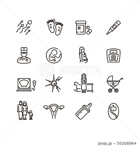 Pregnancy and newborn child line vector icons. Motherhood and infant baby pictograms 50308964