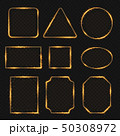 Golden neon shiny electric rectangle borders. Glisten round and oval banners 50308972