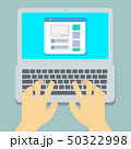 Flat Hands typing on laptop pastel  50322998