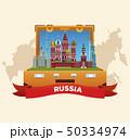 ロシア スーツケース 旅行鞄のイラスト 50334974
