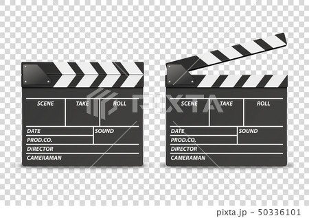 Vector 3d Realistic Blank Closed and Opened Movie Film Clap Board Icon Set Closeup Isolated on 50336101