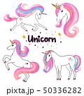 Beautiful watercolor unicorns set in pink colors 50336282
