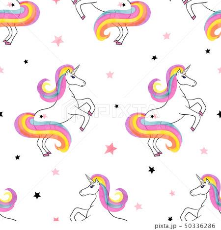 Seamless rainbow unicorns pattern 50336286