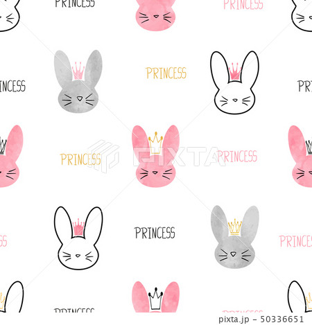 Seamless little princess bunny pattern.  50336651