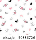 Seamless pattern with dog paw footprint and bones 50336726