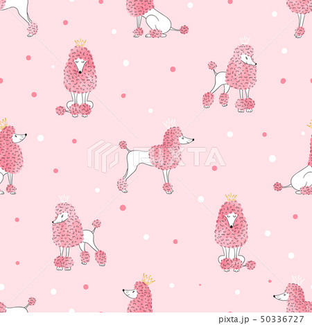 Seamless poodle dog pattern in pink color 50336727