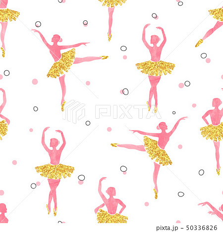 Watercolor seamless ballerinas pattern 50336826