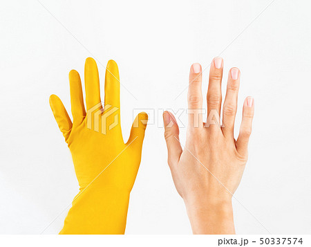Woman hand in rubber glove 50337574