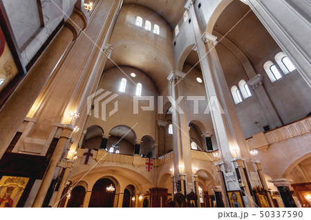 Interior of Holy Trinity Cathedral of Tbilisi. 50337590