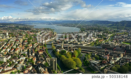 Aerial view of Zurich, the Limmat River and the Zurichsee Lake. Switzerland 50338148