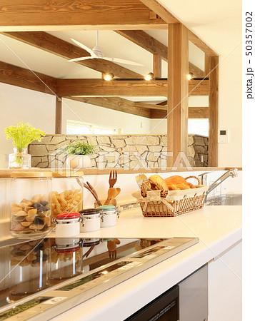 ペット同居型デザイナーズ住宅のお洒落なキッチン 50357002