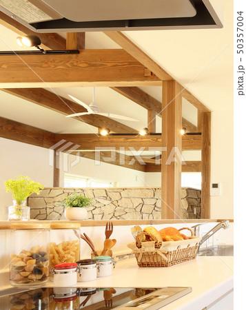 ペット同居型デザイナーズ住宅のお洒落なキッチン 50357004