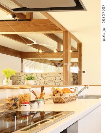 ペット同居型デザイナーズ住宅のお洒落なキッチン 50357007