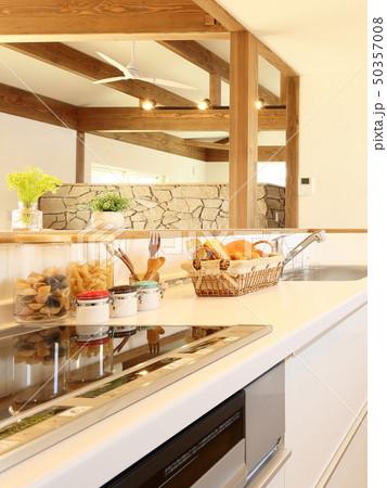 ペット同居型デザイナーズ住宅のお洒落なキッチン 50357008