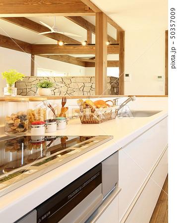 ペット同居型デザイナーズ住宅のお洒落なキッチン 50357009