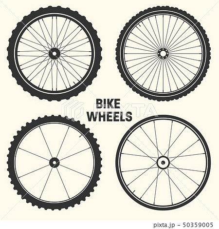 Bicycle wheel symbol vector illustration. Bike rubber mountain tyre, valve. Fitness cycle, mtb 50359005