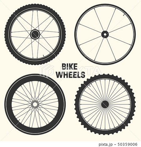 Bicycle wheel symbol vector illustration. Bike rubber mountain tyre, valve. Fitness cycle, mtb 50359006