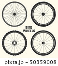 Bicycle wheel symbol vector illustration. Bike rubber mountain tyre, valve. Fitness cycle, mtb 50359008