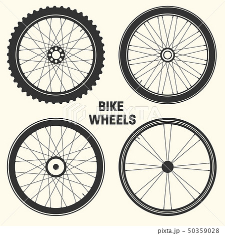 Bicycle wheel symbol vector illustration. Bike rubber mountain tyre, valve. Fitness cycle, mtb 50359028