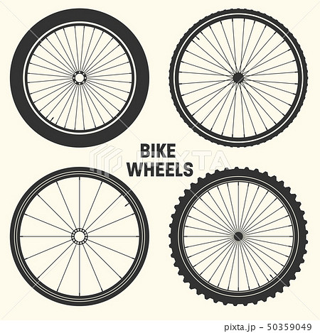 Bicycle wheel symbol vector illustration. Bike rubber mountain tyre, valve. Fitness cycle, mtb 50359049