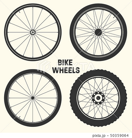 Bicycle wheel symbol vector illustration. Bike rubber mountain tyre, valve. Fitness cycle, mtb 50359064
