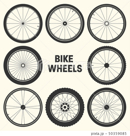 Bicycle wheel symbol vector illustration. Bike rubber mountain tyre, valve. Fitness cycle, mtb 50359085