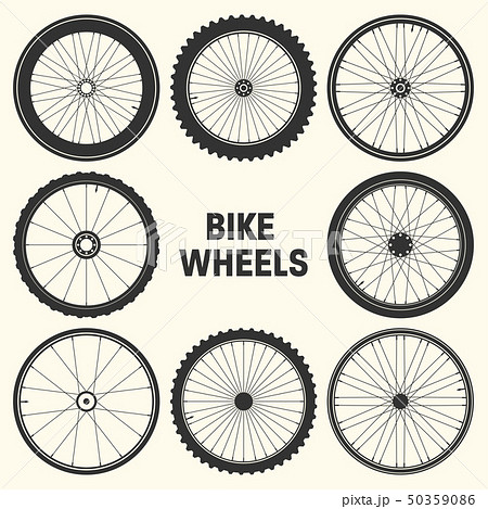 Bicycle wheel symbol vector illustration. Bike rubber mountain tyre, valve. Fitness cycle, mtb 50359086