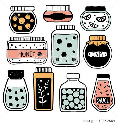 Set of colorful doodle jars 50360884
