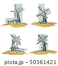 Vector stylized by line color windmills badges. 50361421