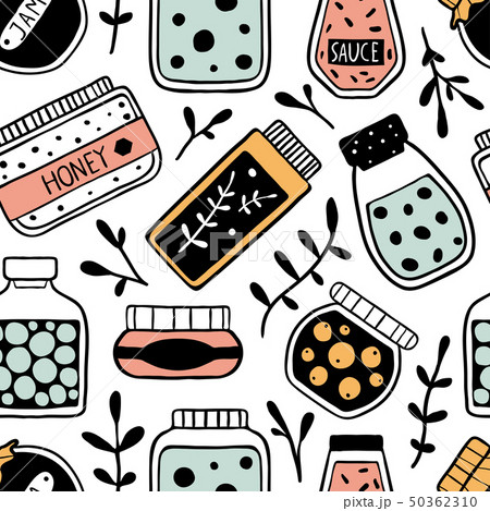Seamless pattern with doodle jars 50362310