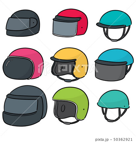 vector set of motorcycle helmet 50362921