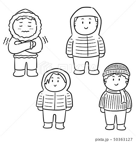 vector set of people in winter clothes 50363127