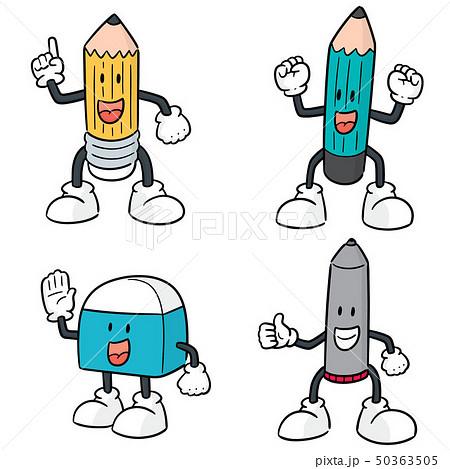 vector set of pen, pencil and eraser cartoon 50363505