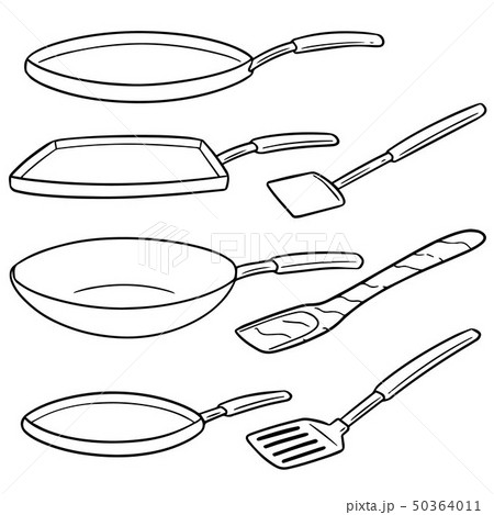 vector set of pan and flipper 50364011
