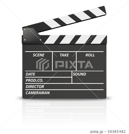Vector 3d Realistic Blank Opened Movie Film Clap Board Icon Closeup Isolated on White Background 50365482