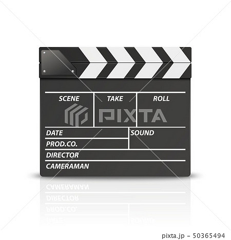 Vector 3d Realistic Blank Closed Movie Film Clap Board Icon Closeup Isolated on White Background 50365494