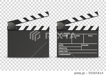 Vector 3d Realistic Opened Movie Film Clap Board Icon Set Closeup Isolated on Transparent Background 50365814