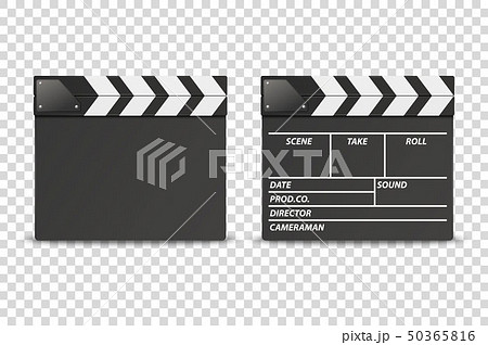 Vector 3d Realistic Closed Movie Film Clap Board Icon Set Closeup Isolated on Transparent Background 50365816