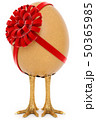 chicken egg with foot, egg with a ribbon isolated on white background 50365985