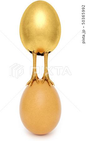 golden egg with golden chicken feet 50365992