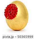 Realistic golden egg with a red bow. Isolated on white background. 50365999