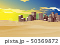 landscape of the city in the desert in sunset 50369872
