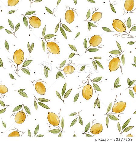 Watercolor lemon seamless pattern 50377258