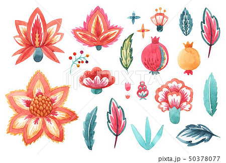 Watercolor floral abstract set 50378077