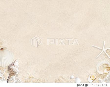 背景-海-夏-ビーチ-貝殻-砂 50379484