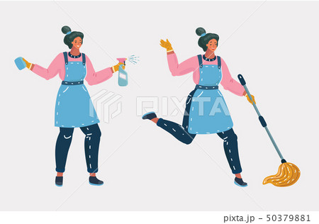 Cleaners ready for cleaning with enthusiasm. 50379881