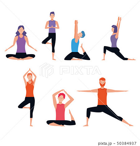 set of person doing yoga poses 50384937